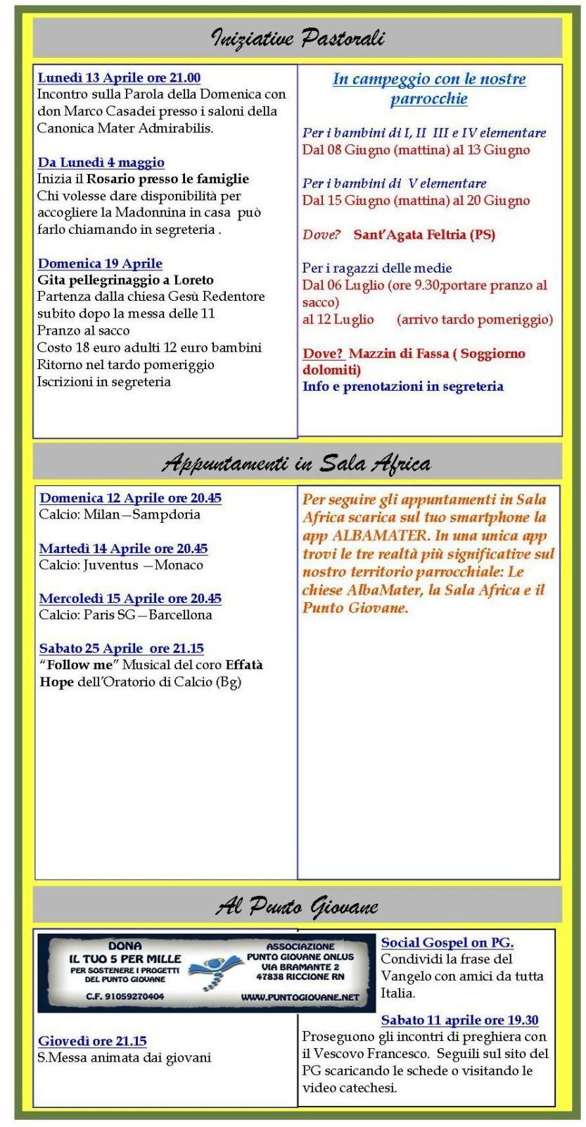 Newsletter 10 aprile 2015
