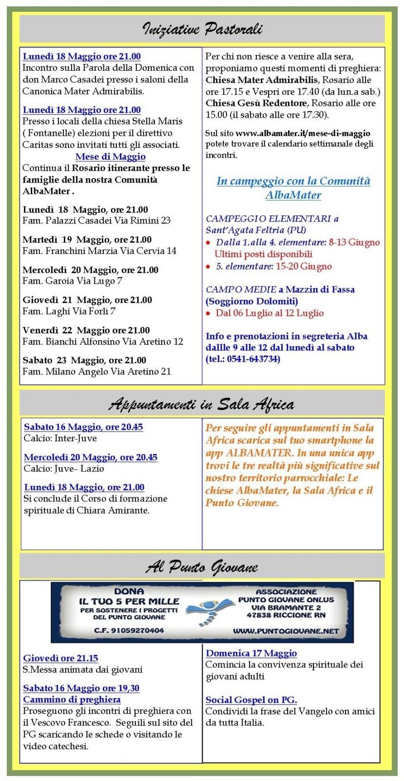 Newsletter 15 Maggio 2015