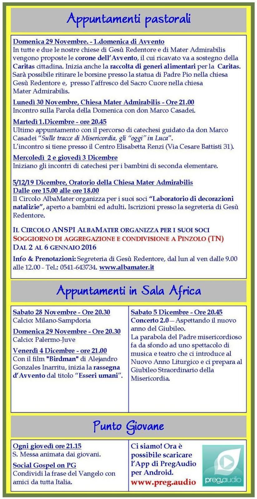 Newsletter 28 Novembre