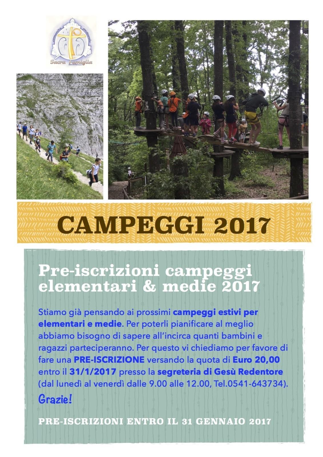 Volantino pre-iscrizioni campeggi 2017